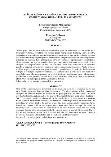 análise teórica e empírica dos determinantes de corrupção - Anpec