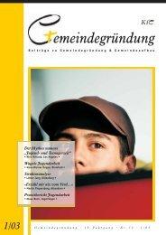 Gemeindegründung - Heft Nr. 73 (1/03) - Konferenz für ...