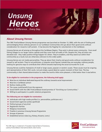 About Unsung Heroes - FirstCaribbean International Bank