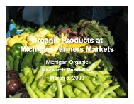 Organic Products at Michigan Farmers Markets