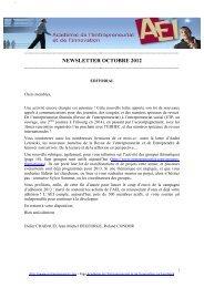 NEWSLETTER OCTOBRE 2012 - Académie de l'Entrepreneuriat