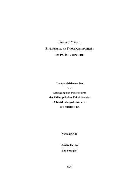 kumulative dissertation freiburg