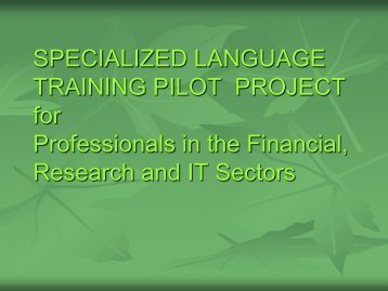 SPECIALIZED LANGUAGE TRAINING PILOT PROJECT for ...