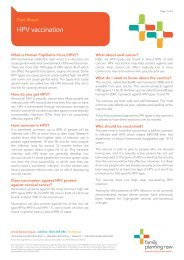 HPV vaccination - Family Planning NSW