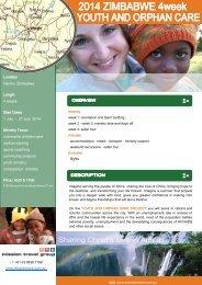 Volunteer Zimbabwe 4 weeks - 1-27 July 2014 - Mission Travel