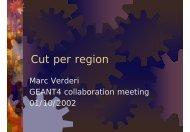 Cut per region - Geant4