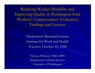 Quality improvement in health-care services for injured workers