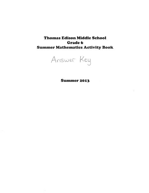 Incoming 6th Grade - Summer Math Activities Answer Key