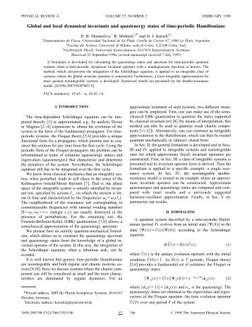 Global and local dynamical invariants and quasienergy states of ...