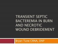 Transient Septic Bacteremia in Burn and Necrotic Wound Debridement
