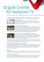 10 gute Gründe für Swisscom TV.