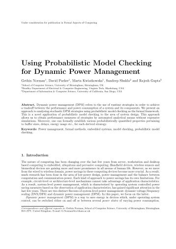 Using Probabilistic Model Checking for Dynamic Power Management