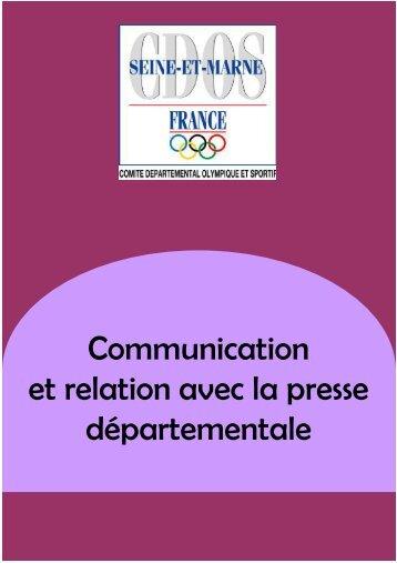 communication et relation avec la presse departementale - CDOS 77