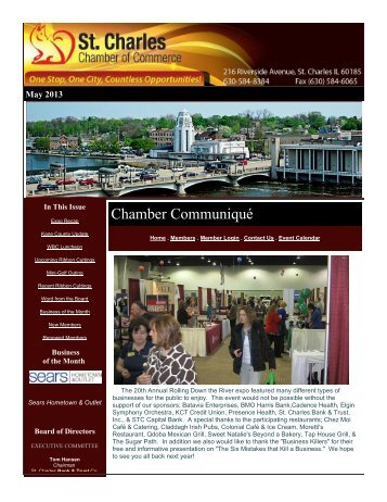 May 2013 Newsletter - St. Charles Chamber of Commerce