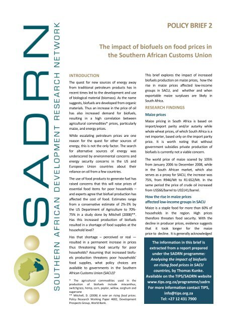 SADRN Policy Brief 2 - Biofuels and food security pdf - tips