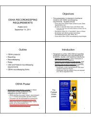 OSHA RECORDKEEPING REQUIREMENTS Objectives Outline ...