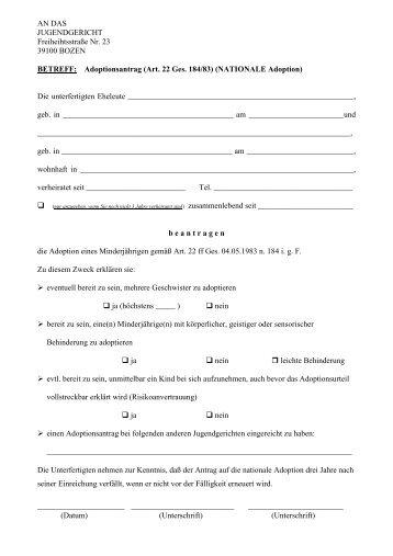 Adoptionsantrag