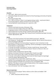 Curriculum Vitae Svend Aage Madsen Education • Cand. psych ...