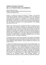 Aspectos biológicos de la ofidiofauna colombiana