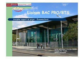 Liaison BAC PRO/BTS