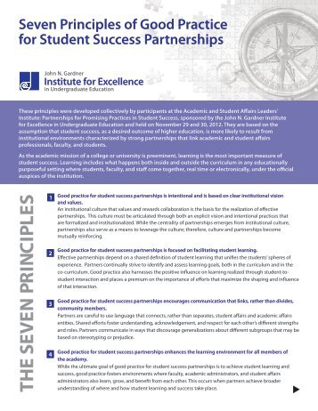 Seven Principles of Good Practice for Student Success Partnerships