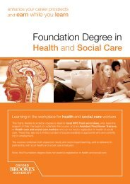 Foundation Degree in - Faculty of Health and Life Sciences - Oxford ...