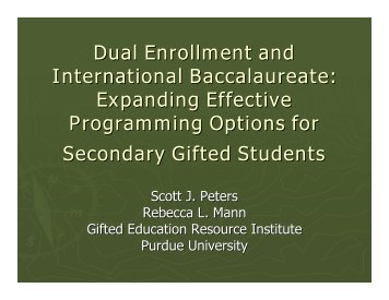 Dual Enrollment and International Baccalaureate - Gifted Education ...