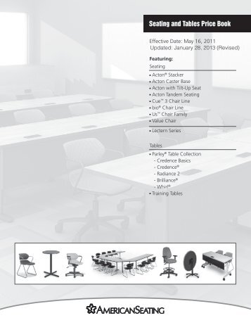 Seating and Tables Price Book - American Seating