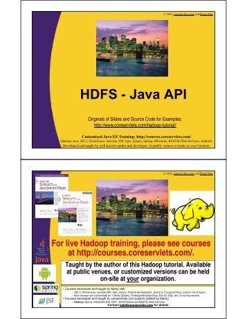 HDFS - Java API - Custom Training Courses - Coreservlets.com
