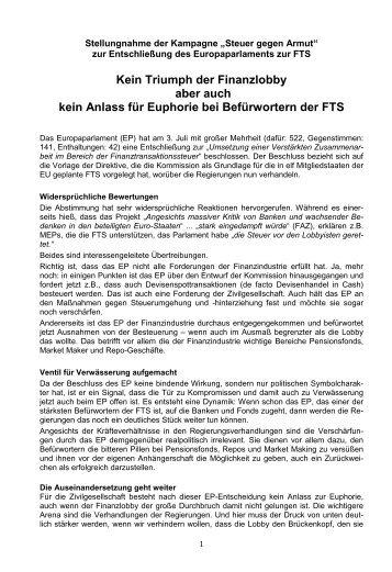 Bewertung des Beschlusses des EU Parlaments zur FTS aus Sicht ...