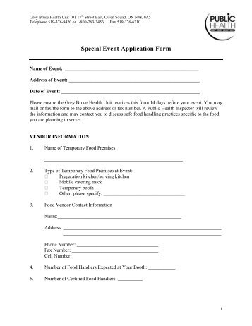 Special Event Application Form - Grey Bruce Health Unit