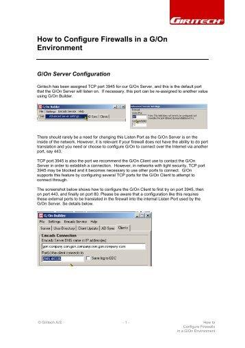 How to Configure Firewalls in a G/On Environment - Giritech.de