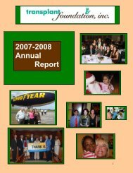 2007-2008 Annual Report - Transplant Foundation, Inc.