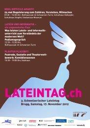 3. Schweizerischer Lateintag Brugg, Samstag, 17. November 2012