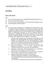 TUMORZENTRUM RHEINLAND-PFALZ e.V. SATZUNG