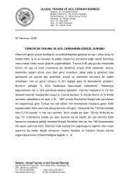 Ulusal Travma ve Acil Cerrahi Derneği'nin, Türkiye'de Travma ve
