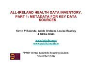all-ireland health data inventory. part 1: metadata for key data sources