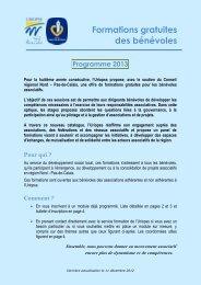 Formations gratuites des bénévoles Programme 2013