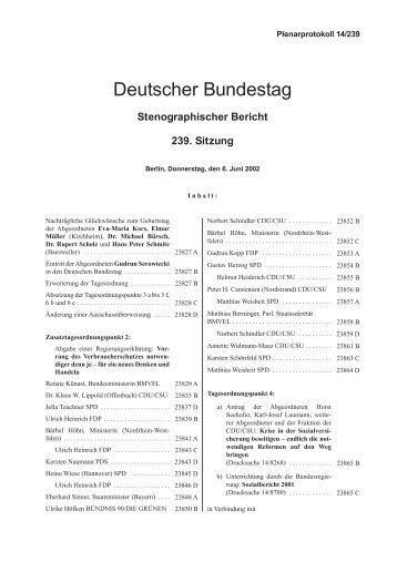 Stenographischer Bericht 239. Sitzung - Deutscher Bundestag