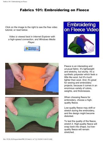 Fabrics 101: Embroidering on Fleece - Embroidery Library