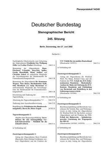 Stenographischer Bericht 245. Sitzung - Deutscher Bundestag
