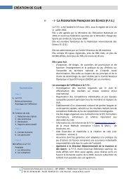 CRÉATION DE CLUB - Fédération Française des Échecs