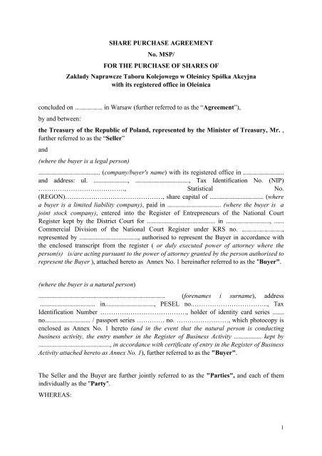 The Share purchase Agreement - Zakłady Naprawcze Taboru ...