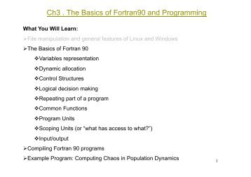 Basics Of Fortran - Course Notes