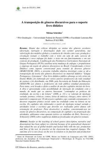 A transposição de gêneros discursivos para o ... - Celsul.org.br