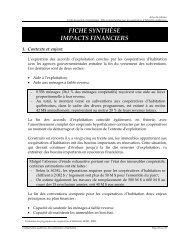 Impacts financiers - Coopératives d'habitation