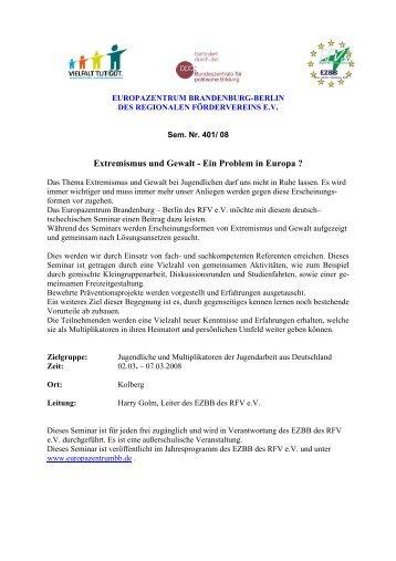 Extremismus und Gewalt - Ein Problem in Europa - Europazentrum ...
