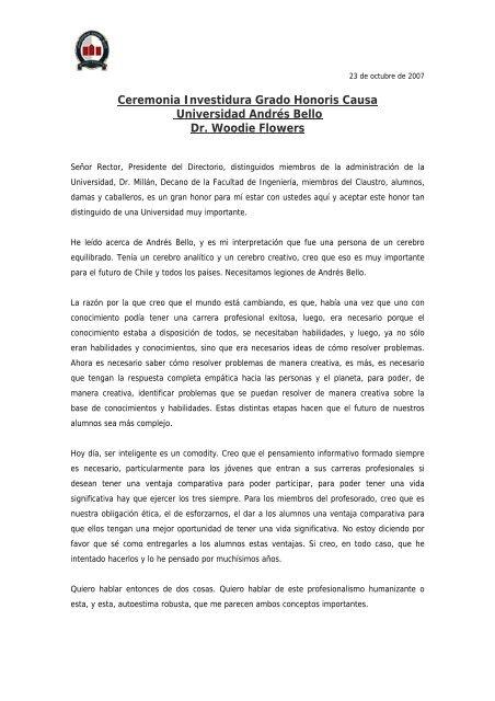 23 de octubre de 2007 - Universidad Andrés Bello