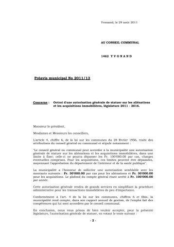 Préavis 2011/13 Octroi d'une autorisation générale de ... - Yvonand