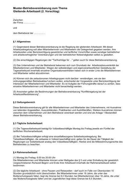 Muster Betriebsvereinbarung Als Pdf Br Wiki 6